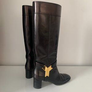 Yves Saint Laurent Riding Boots Thelma Gold Logo
